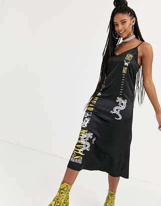 New Girl Order midi cami slip dress with mixed graphics-Black