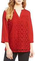 Investments Y-Neck 3/4 Sleeve Lace Front Blouse