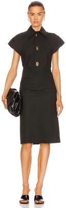 Bottega Veneta Short Sleeve Belted Midi Dress in Off Black | FWRD