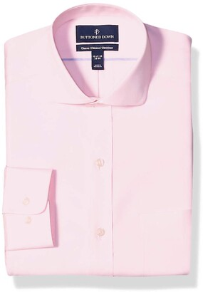 Buttoned Down Classic Fit Cutaway Collar Solid Non-Iron Dress Shirt Light Pink/Pockets 16.5 Inches Neck 38 Inches Sleeve