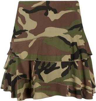 R 13 Camouflage Print Mini Skirt