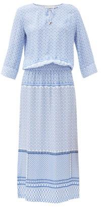 Heidi Klein Malta Draped-bodice Tile-print Poplin Midi Dress - Blue Print