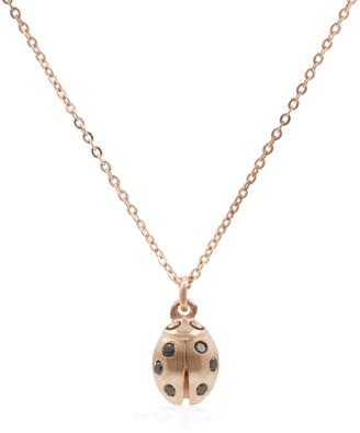 Lee Renee Ladybird Black Diamond Necklace (Wings Closed) Rose Gold