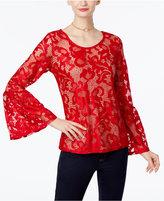 INC International Concepts Petite Lace Bell-Sleeve Top, Only at Macy's