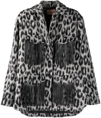 Andamane Evita fringed leopard-print jacket