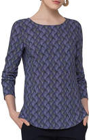 Akris Punto Alice Geometric-Print Top, Blue Pattern