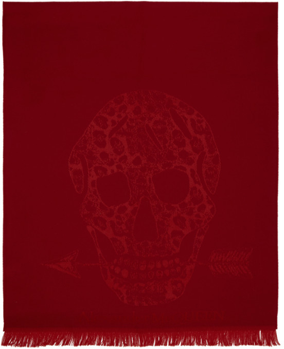 Alexander McQueen Red Wool Leopard and Skull Scarf