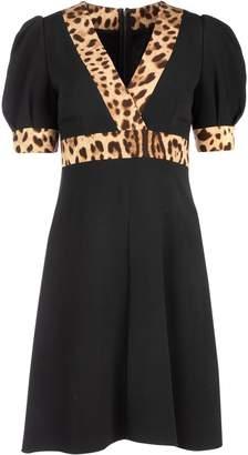 Dolce & Gabbana Leopard Print Trimmed V Neck Flared Dress
