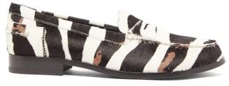 Tod's X Alber Elbaz Zebra-stripe Calf Hair Loafers - Black White