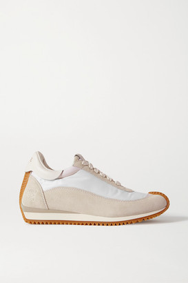 Loewe Flow Suede, Shell And Leather Sneakers - Light gray