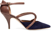 Malone Souliers Veronica snake and suede pumps
