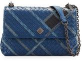 Bottega Veneta Olimpia Intrecciato Snakeskin & Leather Shoulder Bag, Navy