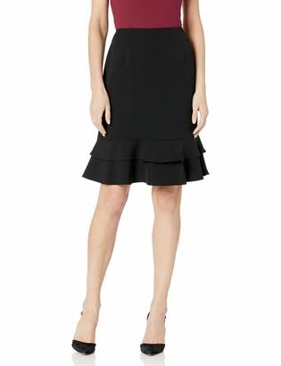Kasper Women's Stretch Crepe Tiered Ruffle Skirt