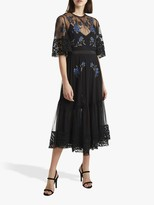 French Connection Ambre Embroidered Lace Floral Dress, Black