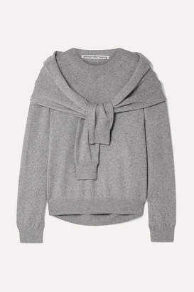 Alexander Wang Tie-front Knitted Sweater - Gray