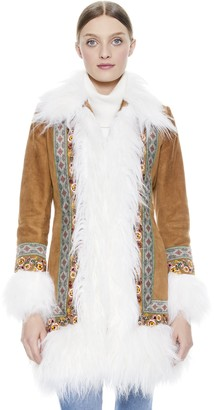 Alice + Olivia Bodie Embroidered Shearling Coat