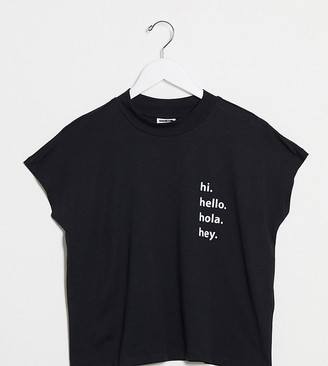 Noisy May Petite hello slogan high neck t-shirt in black