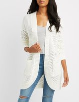 Charlotte Russe Mixed Knit Cocoon Cardigan