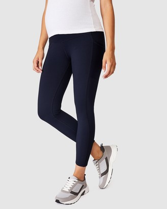 Cotton On Body Active - Women's Navy Maternity Tights - Maternity Rib Pocket 7-8 Tights - Size S at The Iconic