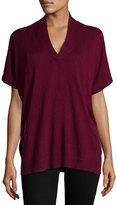 Neiman Marcus Silk-Cashmere Short-Sleeve Pullover Top, Wine