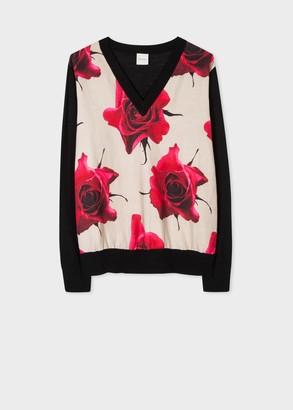 Paul Smith Women's Black Wool-Blend V-Neck Sweater With 'Monarch Rose' Front