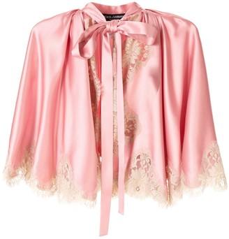 Dolce & Gabbana lace detail tie neck jacket