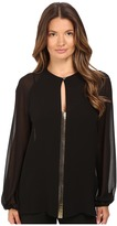 Versace Blouse with Gold Embellished Front V-Neck Women's Blouse