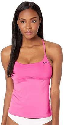 Nike Solid Cross-Back Tankini (Black) Women's Swimwear