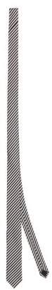 Saint Laurent Striped Silk Twill Tie - Mens - Black White