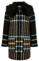River Island Girls black checked faux fur collar coat