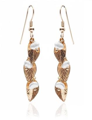 Harry Rocks Delilah Leaf Earrings Gold &Pearl