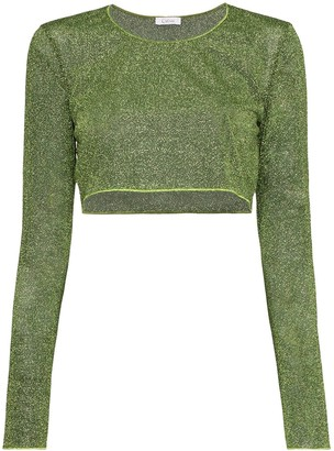 Oseree Lumiere Lurex cropped top
