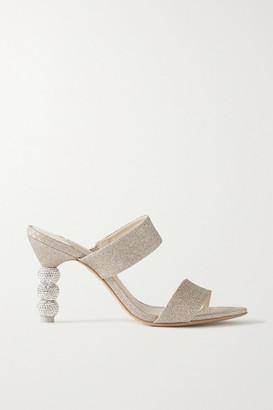 Sophia Webster Rosalind Crystal-embellished Glittered-satin Mules - Gold