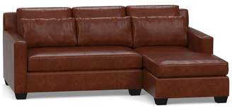 Pottery Barn York Square Arm Deep Seat Leather Chaise Sofa Sectional