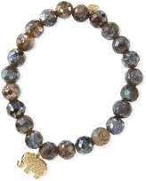 Sydney Evan 8mm Faceted Labradorite Beaded Bracelet with Diamond Elephant Charm
