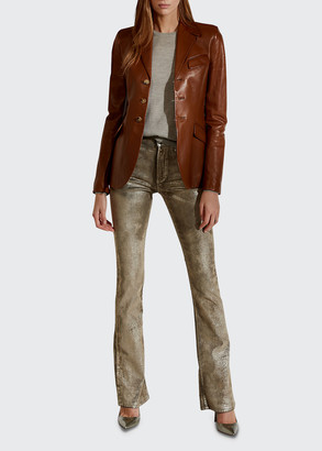 Ralph Lauren Collection Isabel Three-Button Leather Jacket