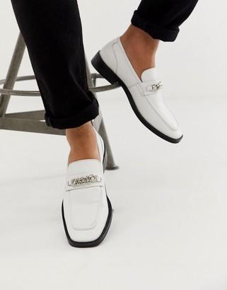 Asos Design DESIGN square toe loafers in white with chain