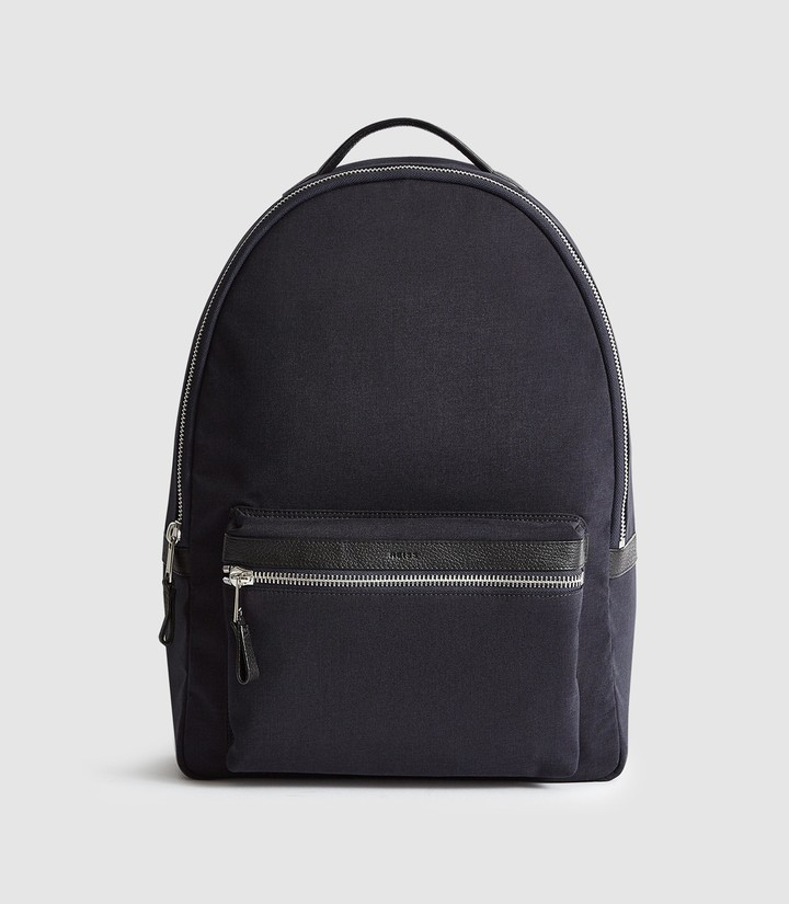 Reiss BRONNMAN LEATHER TRIM BACKPACK Navy