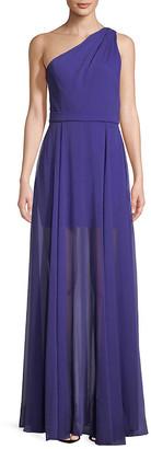 Halston Classic One-Shoulder Floor-Length Gown