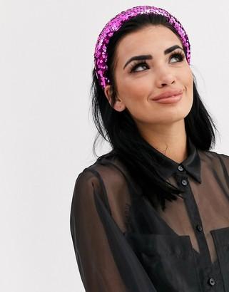 Asos Design DESIGN padded headband with pink sequin embellishment