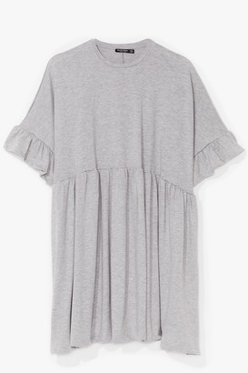 Nasty Gal Womens It's Easy Ruffle Plus Mini Dress - Grey