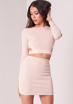 Missy Empire Nori Nude Cut Out Ribbed Co-ord