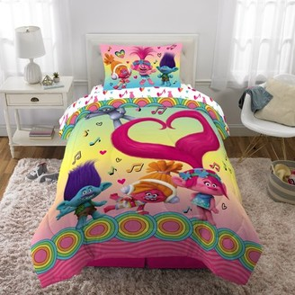 Trolls Bed in a Bag Bundle Set, Kids Bedding, Super Soft Comforter with Sheets, 5 Piece FULL Size