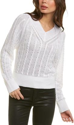Theory V-Neck Linen-Blend Pullover