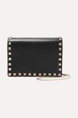Valentino Garavani The Rockstud Leather Shoulder Bag - Black