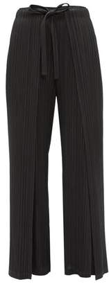 Pleats Please Issey Miyake Tie-front Double-layer Tech-pleated Trousers - Womens - Black