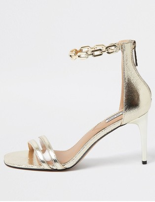 River Island Chain Ankle Barely There Stiletto Sandal - Gold