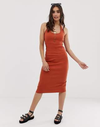 Asos Design DESIGN midi rib halter dress with button front-Orange
