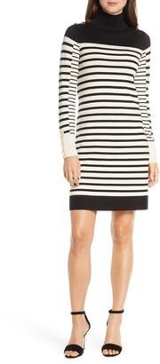 Eliza J Stripe Long Sleeve Turtleneck Sweater Dress