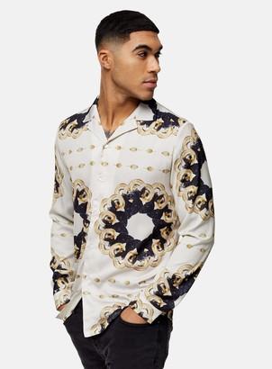 Topman HERMANO White Chain Printed Revere Shirt